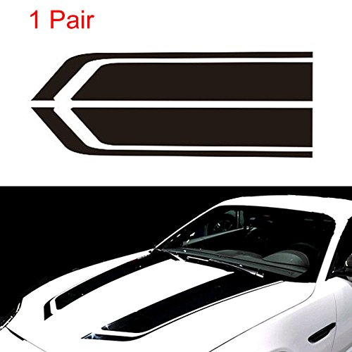 FidgetFidget Hood 2Pcs Auto Car Black Racing Sports Stripes Hood Decals Auto Vinyl Bonnet Stickers
