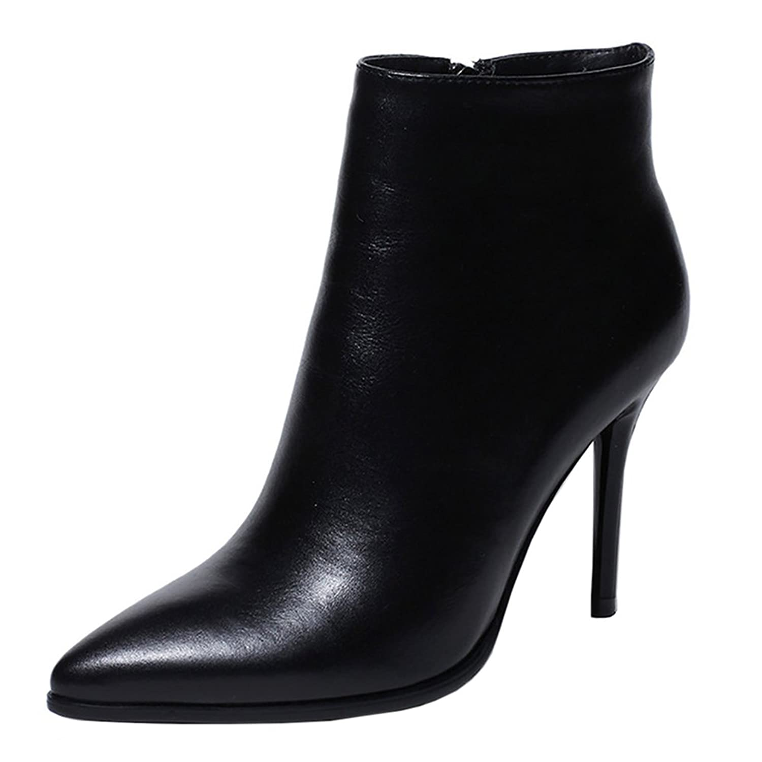 Women's Genuine Leather Stiletto High Heel Pointed Toe Red Ankle Boot Handmade Booties