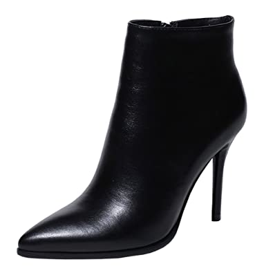 61efd138989 VOCOSI Women's Black Leather Ankle Boots Thin Heels Pointy Toe Zipper Daily  Wear Booties Black 5.5