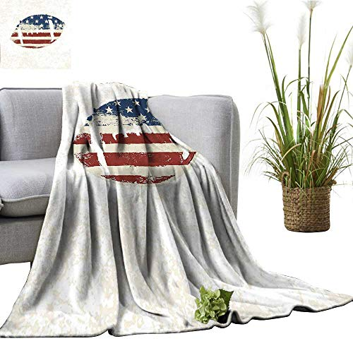 YOYI Home Fashion Blanket American Flag Themed Hand Stitched Rugby Ball Vintage Design Football Theme Multi Lightweight Blankets for Couch Bed Sofa 35