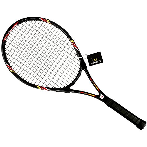 Supper 27 Inch Tennis Racket - Very Strong Balance - Badminton Racket With Beautiful Case Bag (Black)