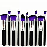 Style Master Professional Girl Women Cosmetic Liquid Blusher Powder Foundation Eyeshadow Brush Makeup Brush Set Kabuki Make Up Tool (Purple Hair)