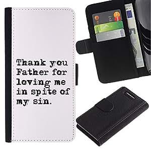 EuroCase - Sony Xperia Z1 Compact D5503 - THAN YOU FATHER FOR LOVING ME - Cuero PU Delgado caso cubierta Shell Armor Funda Case Cover