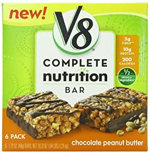 V8 Chocolate Peanut Butter Complete Nutrition Bar, 1.72 Ounce Bars (Pack of 6)