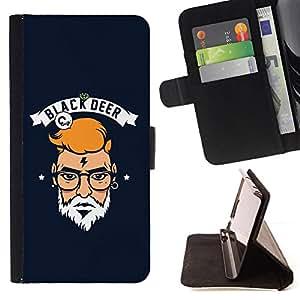 GIFT CHOICE / Billetera de cuero Estuche protector Cáscara Funda Caja de la carpeta Cubierta Caso / Wallet Case for Apple Iphone 6 // Black Deer Beard Man //