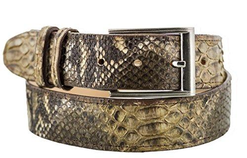 Brown Snake Genuine Belt (El Presidente - All Genuine { Brown} Snake Skin Exotic Belt Silver Buckle)