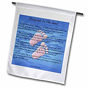 Edmond Hogge Jr Spiritual - Footprints In The Sand With Childs Feet - 18 x 27 inch Garden Flag (fl_63085_2)