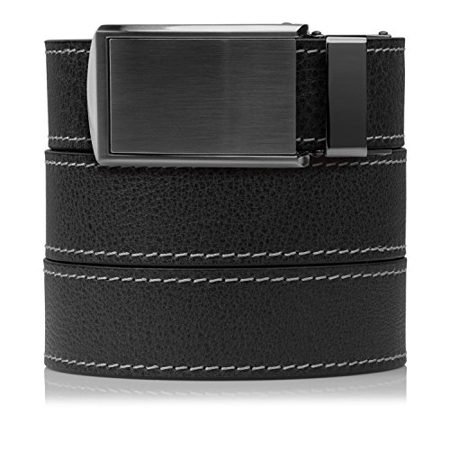 (SlideBelts Full Grain Leather Belt with Contrast Stitching (Ash with Gunmetal Buckle, One Size))