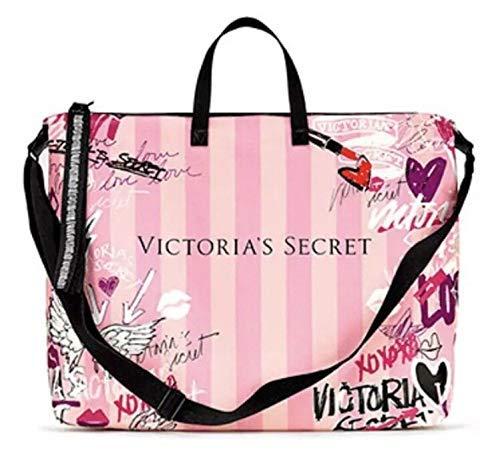 Victoria's Secret Pink Duffle Bag Weekender Tote Graffiti Logo 17x14 Large Size (Victoria Tote Secret Pink Bag)