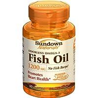 Sundown Naturals Fish Oil, 1200 mg, Softgels, 60 ct (Pack of 3)