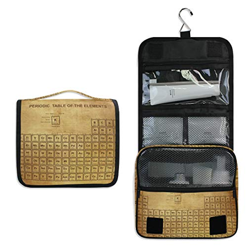 JOYPRINT Hanging Toiletry Bag Periodic Table Of The Elements Vintage, Makeup Bag Cosmetic Bag Bathroom Travel Organizer Large for Women Girls
