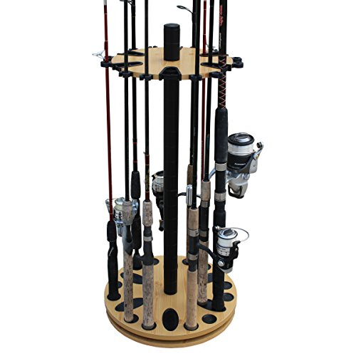 Rush Creek Creations 24 Spinning Round Fishing Rod Storage Rack with Dual Rod Clips - No Tool Assembly
