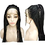 LiyaHair Micro Braided Lace Front Wig Fully Hand Tied Synthethic Hair Braided Heat Resistant Hairs Wigs Free Part with Baby Hair for Black Women (Color Black)