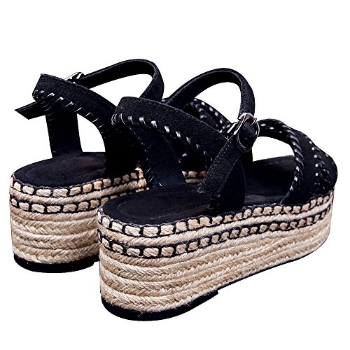 Estate Dito Piatto Aperto Pelle Tacchi Nero Alti Scarpe Donna rismart del Sandali Slingback Piattaforma Piede xqT4IWZ