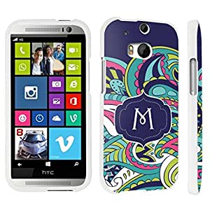 DuroCase ? HTC One M8 Hard Case White - (Mint Flower Monogram M)
