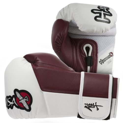 Hayabusa Tokushu Gloves, White/Burnt Crimson, 10-Ounce
