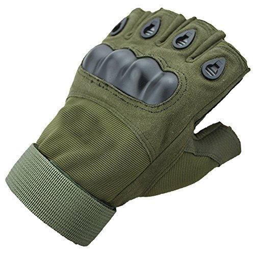 Iwinter Half Finger Tactical Gloves Ventilate Wear-resistant Hard Knuckle and Foam Protection for Shooting Airsoft(Green, XL) (Green Soft Protection)