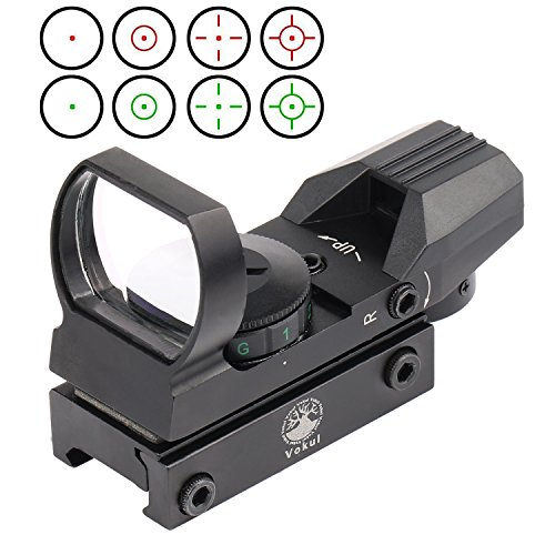 Vokul Tactical 4 Reticle Red Dot Open Reflex Sight with Weaver-Picatinny Rail Mount for 22 mm Rails