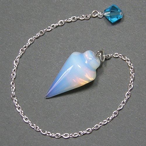 1.1 Inch Opalite Smooth Cone Crystal Pendulum w/ Czech Crystal Finger Grip, SSP11 (Crystal Pendulum Finger)