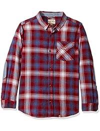 Lucky Brand Boys' Long Sleeve Twill Plaid Shirt with Snow...