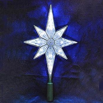 ksa 105 lighted led 8 point star christmas tree topper pure white lights - Led Christmas Tree Topper