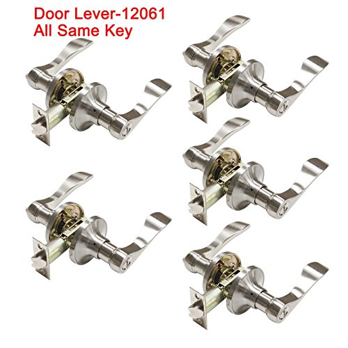 Keyed Alike Satin Brass - 5 Pack Probrico Interior Bedroom Entrance Door Lever Handle Door Knobs One Keyway Entry Keyed Alike Same Key Door Lock Lockset in Satin Nickel-Door Lever-12061