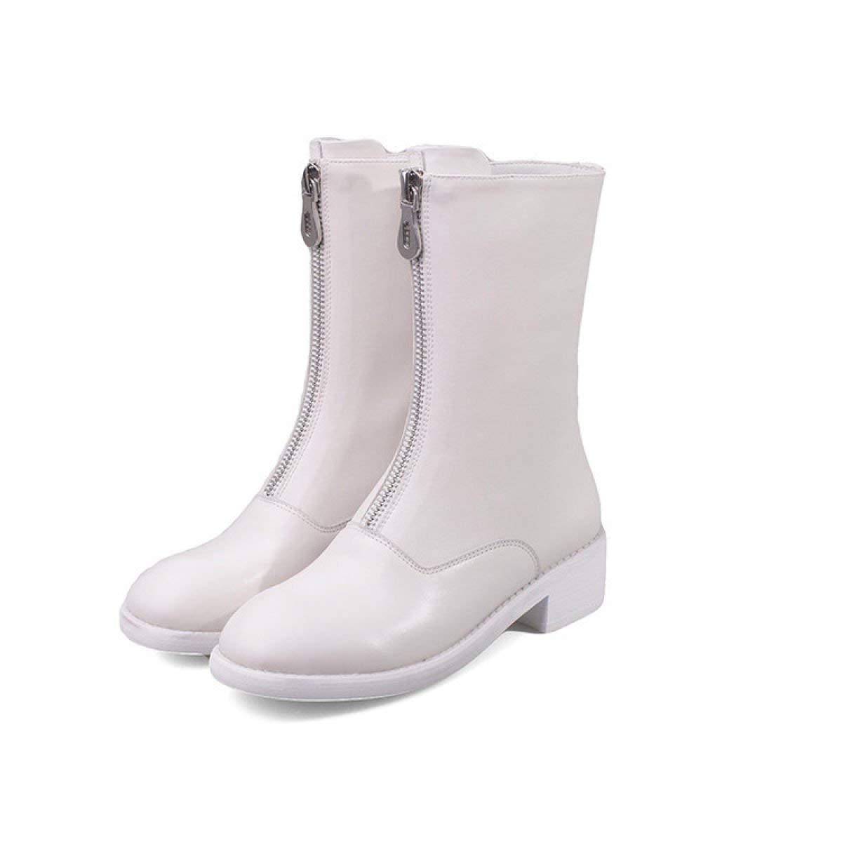Fuxitoggo Fuxitoggo Fuxitoggo Damen Lederstiefel Flache Ferse Schuhe Frontzipper Martin Stiefel (Farbe   Beige, Größe   38) 0552c0