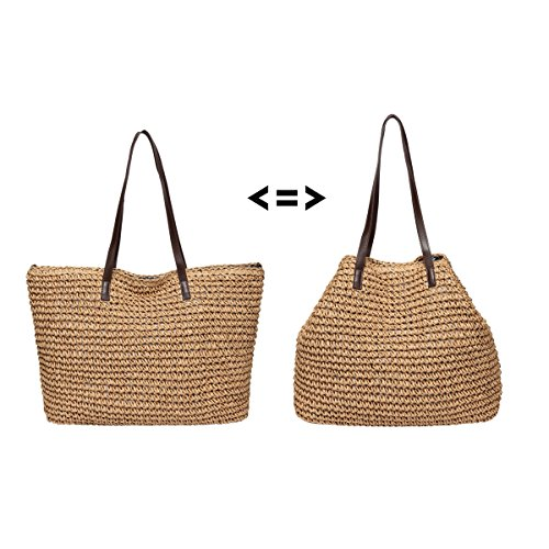 Straw Handbag Weekender Beach handle Hobos Bag Shoulder b015 Top Women Bags Totes Defeng Vacation Light Brown wvqn8xIFF