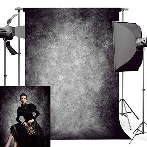 econious Photo Backdrop, 5x7ft Retro Abstract Black Portrait Backdrop for Photography, Resistant Fleece-Like Cloth Fabric, with Rod -
