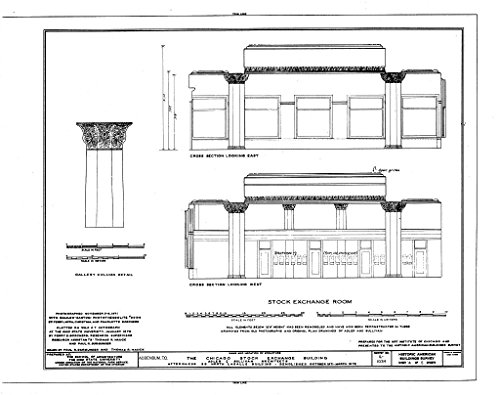 Bank Chicago Lasalle (historic pictoric Blueprint Diagram HABS ILL,16-CHIG,36- (sheet 4 of 5) - Chicago Stock Exchange Building, 30 North LaSalle Street, Chicago, Cook County, IL 24in x 18in)