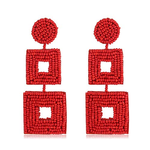 - Statement Beaded Drop Earrings Handmade Seed Bead Square Dangle Earrings Bohemia Earring Studs for Women Girls (Red)