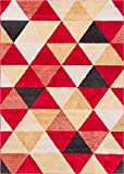 Isometry Red & Beige Modern Geometric Triangle Pattern Area Rug Soft Shed Free 8 x 11 (7'10'' x 9'10'') Easy to Clean Stain Resistant