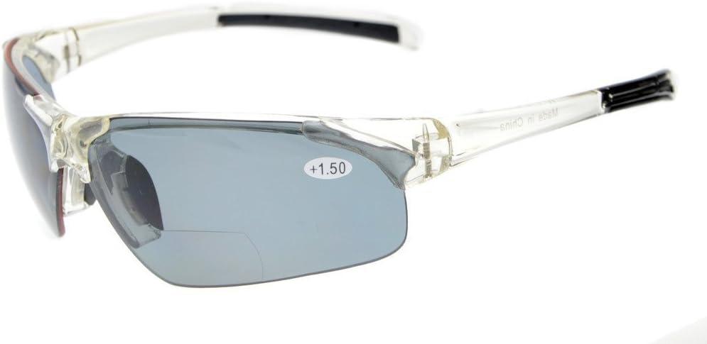 Eyekepper TR90 Unbreakable Sports Polycarbonate Polarized Half-Rimless Bifocal Sunglasses Baseball Running Fishing Driving Golf Softball Hiking Transparent Frame Grey Lens 3.0