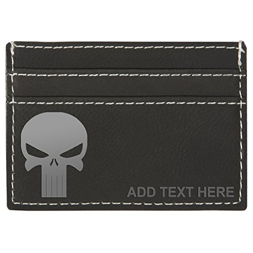 Personalized Engraved Punisher Skull Leatherette Moneyclip Wallet, Blck & Silver