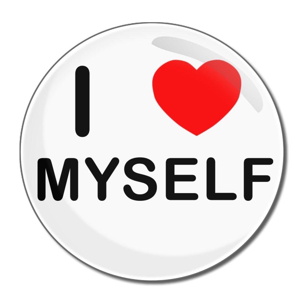 I Love Myself - 55mm Round Compact Mirror BadgeBeast.co.uk 55mir-myself