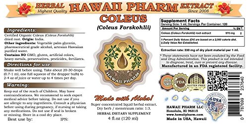 Coleus Liquid Extract, Coleus (Coleus Forskohlii) Root Tincture Supplement 4 oz by HawaiiPharm (Image #1)