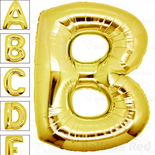 40 Inch Giant Jumbo Helium Foil Mylar Balloons for Party Decorations (Premium Quality), Glossy Gold, Letter (Letter B Costumes)
