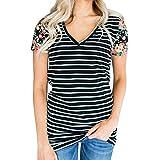 iLOOSKR Women's T Shirt Blous Shirt Striped Blouse Sweatshirts Tops(Black,L)