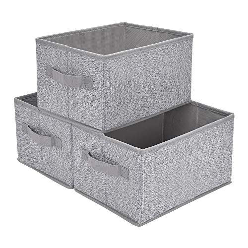 GRANNY SAYS Storage Baskets for Shelves, Cloth Organizer Bins with Handles for Home Closet Bedroom Drawers Organizers, Gray, Medium, 3-Pack (Baskets With Organizer)