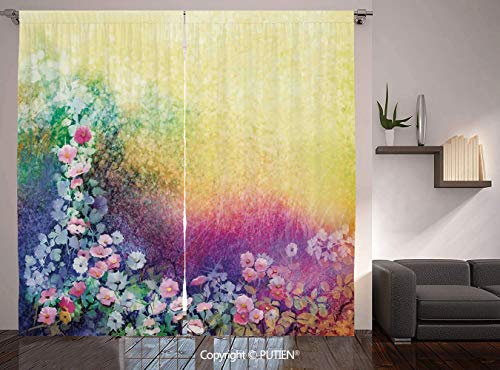 Thermal Insulated Blackout Window Curtain [ Watercolor Flower Home Decor,Ivy Floral Beauty in Spring Soft Natural Paradise Print,Purple Yellow ] for Living Room Bedroom Dorm Room Classroom Kitchen Caf ()