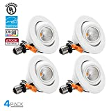 TORCHSTAR High CRI90+ 4 inch Dimmable Gimbal Recessed LED Downlight, 10W (75W Equiv) ENERGY STAR, 2700K Soft White, 750lm, Adjustable LED Retrofit Lighting Fixture, 3 YEARS WARRANTY,Pack of 4
