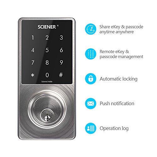 Sciener Digital Smart Lock, Bluetooth Enabled APP Touchscreen Keyless Entry Door Lock, Easy to Install,Silver by sciener (Image #5)