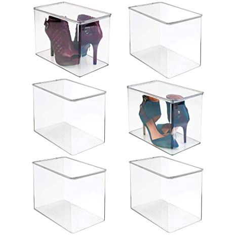mDesign Stackable Closet Plastic Storage Bin Box with Lid Container for Organizing Mens and Womens Shoes, Booties, Pumps, Sandals, Wedges, Flats,