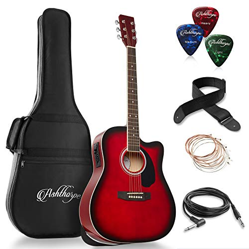 Ashthorpe Full-Size Dreadnought Cutaway Acoustic-Electric Guitar Bundle – Premium Tonewoods – Red