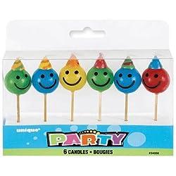 Happy Face Pick Candles 6/pkg