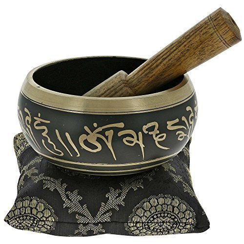 Shalininda 4 Inches Hand Painted Metal Tibetan Buddhist Singing Bowl Musical Instrument for Meditation with Stick and Cushion
