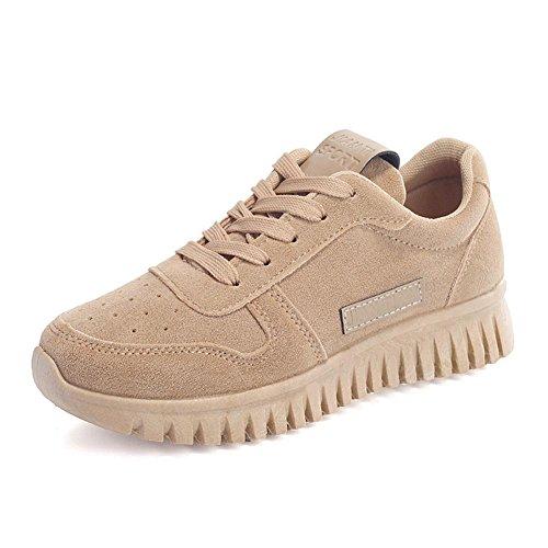 Zapatos de los deportes de las señoras zapatilla de deporte plana del ante suelas gruesas cordón-para arriba resorte / verano / otoño beige