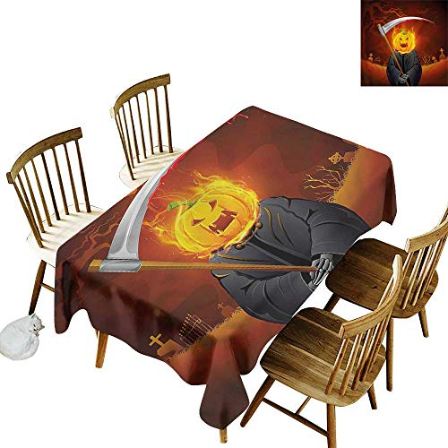 one1love Fashions Rectangular Table Cloth Halloween Grim Reaper Head Spooky Table Cover for Dining 60