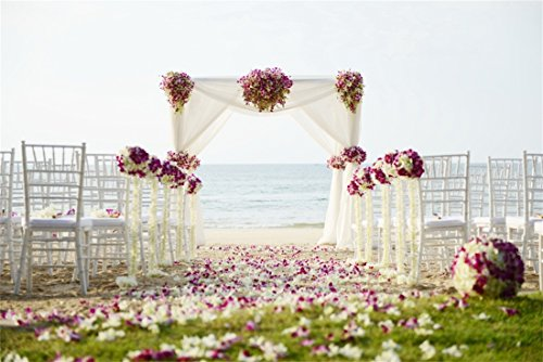 OFILA Beach Wedding Backdrop 9x6ft Romantic Flowers Arch Decoration Petals Wedding Chairs Seaside Bride Groom Photography Sweet Love Children Kids Photo Digital Video Studio Props