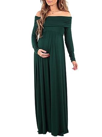 ffeba0dffe2a4 YoungSoul Robes maternité Manches Longues à Encolure Bardot Robe Enceinte  Longue Robe de Grossesse Vert foncé